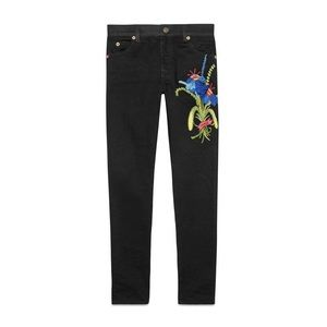 GUCCI x Unskilled Worker black embroidered jeans